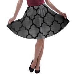 Tile1 Black Marble & Gray Brushed Metal A Line Skater Skirt by trendistuff