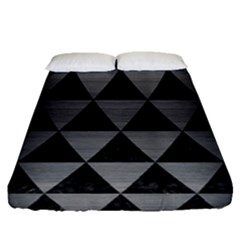 Triangle3 Black Marble & Gray Brushed Metal Fitted Sheet (queen Size) by trendistuff