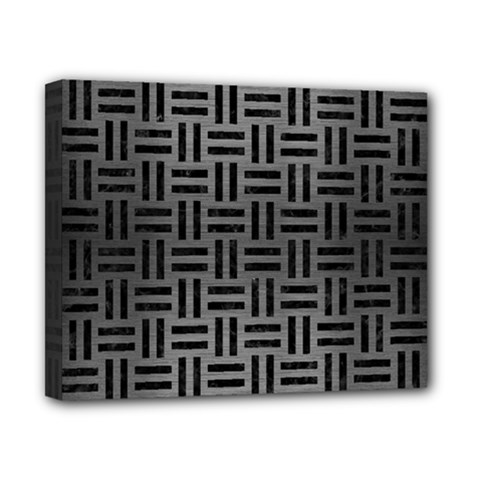 Woven1 Black Marble & Gray Brushed Metal Canvas 10  X 8  by trendistuff