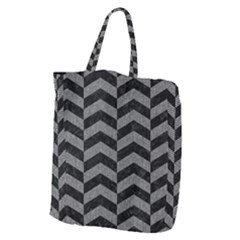 Chevron2 Black Marble & Gray Denim Giant Grocery Zipper Tote by trendistuff