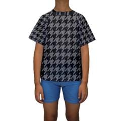 Houndstooth1 Black Marble & Gray Denim Kids  Short Sleeve Swimwear by trendistuff