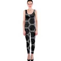 Hexagon2 Black Marble & Gray Denim (r) Onepiece Catsuit by trendistuff