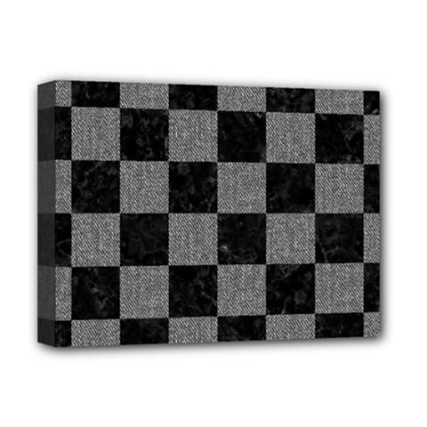 Square1 Black Marble & Gray Denim Deluxe Canvas 16  X 12   by trendistuff