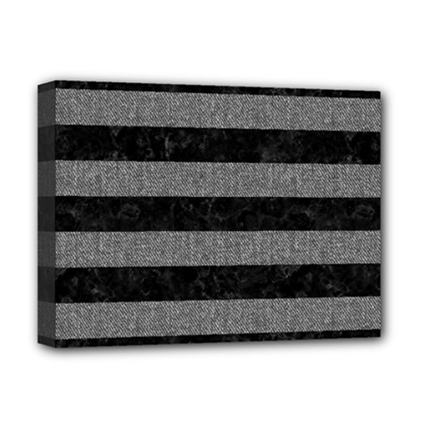 Stripes2 Black Marble & Gray Denim Deluxe Canvas 16  X 12   by trendistuff