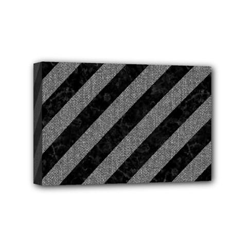 Stripes3 Black Marble & Gray Denim (r) Mini Canvas 6  X 4  by trendistuff