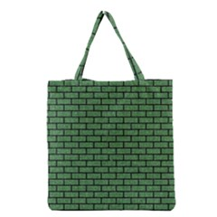 Brick1 Black Marble & Green Denim Grocery Tote Bag by trendistuff