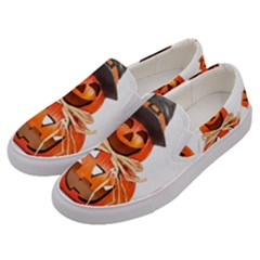 Funny Halloween Pumpkins Men s Canvas Slip Ons by gothicandhalloweenstore