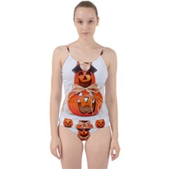 Funny Halloween Pumpkins Cut Out Top Tankini Set by gothicandhalloweenstore