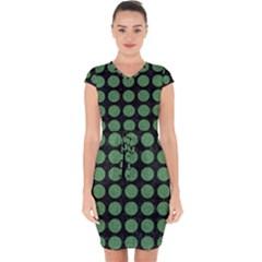 Circles1 Black Marble & Green Denim (r) Capsleeve Drawstring Dress