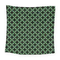 Circles3 Black Marble & Green Denim (r) Square Tapestry (large) by trendistuff