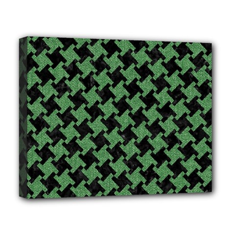 Houndstooth2 Black Marble & Green Denim Deluxe Canvas 20  X 16   by trendistuff