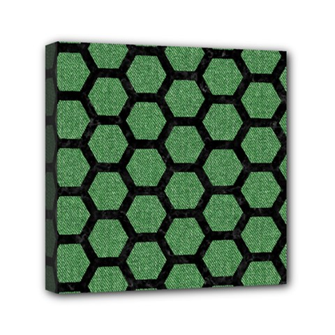 Hexagon2 Black Marble & Green Denim Mini Canvas 6  X 6  by trendistuff