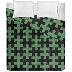 Puzzle1 Black Marble & Green Denim Duvet Cover Double Side (california King Size)