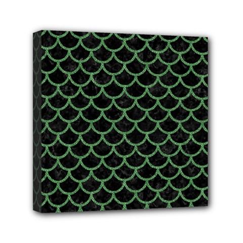 Scales1 Black Marble & Green Denim (r) Mini Canvas 6  X 6  by trendistuff