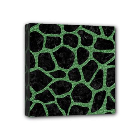 Skin1 Black Marble & Green Denim Mini Canvas 4  X 4  by trendistuff
