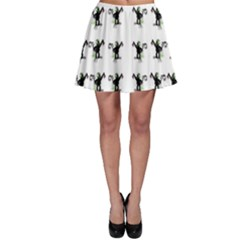 Floral Monkey With Hairstyle Skater Skirt by pepitasart