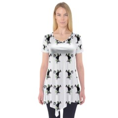 Floral Monkey With Hairstyle Short Sleeve Tunic  by pepitasart