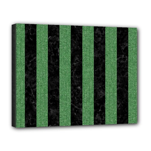 Stripes1 Black Marble & Green Denim Canvas 14  X 11  by trendistuff