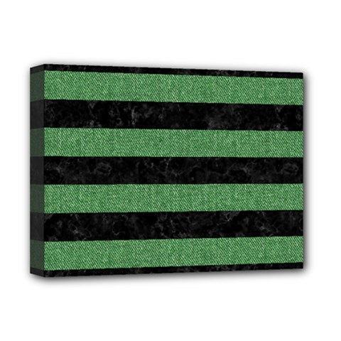 Stripes2 Black Marble & Green Denim Deluxe Canvas 16  X 12   by trendistuff