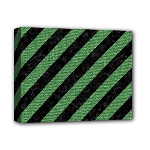 Stripes3 Black Marble & Green Denim (r) Deluxe Canvas 14  X 11  by trendistuff