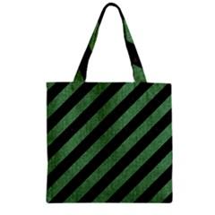 Stripes3 Black Marble & Green Denim (r) Zipper Grocery Tote Bag by trendistuff