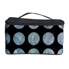 Circles1 Black Marble & Ice Crystals (r) Cosmetic Storage Case by trendistuff