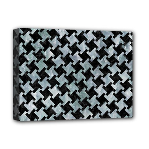 Houndstooth2 Black Marble & Ice Crystals Deluxe Canvas 16  X 12   by trendistuff