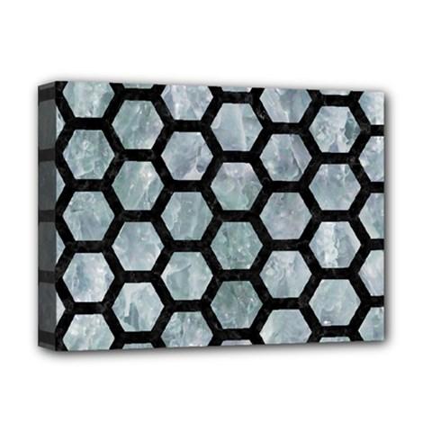 Hexagon2 Black Marble & Ice Crystals Deluxe Canvas 16  X 12   by trendistuff