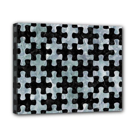 Puzzle1 Black Marble & Ice Crystals Canvas 10  X 8  by trendistuff