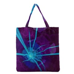 Beautiful Bioluminescent Sea Anemone Fractalflower Grocery Tote Bag by jayaprime