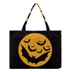 Bats Moon Night Halloween Black Medium Tote Bag by Alisyart