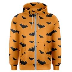 Halloween Bat Animals Night Orange Men s Zipper Hoodie by Alisyart