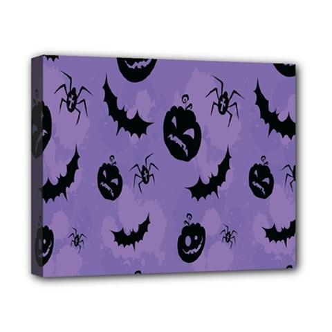 Halloween Pumpkin Bat Spider Purple Black Ghost Smile Canvas 10  X 8  by Alisyart
