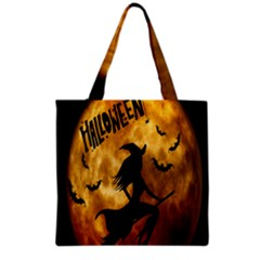 Halloween Wicked Witch Bat Moon Night Grocery Tote Bag by Alisyart