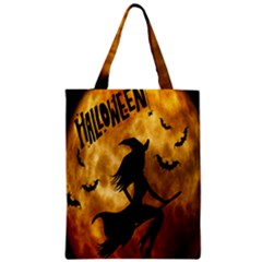 Halloween Wicked Witch Bat Moon Night Zipper Classic Tote Bag by Alisyart
