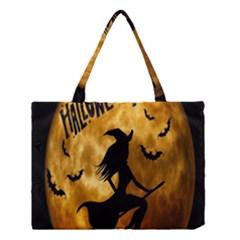 Halloween Wicked Witch Bat Moon Night Medium Tote Bag by Alisyart