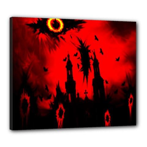 Big Eye Fire Black Red Night Crow Bird Ghost Halloween Canvas 24  X 20  by Alisyart
