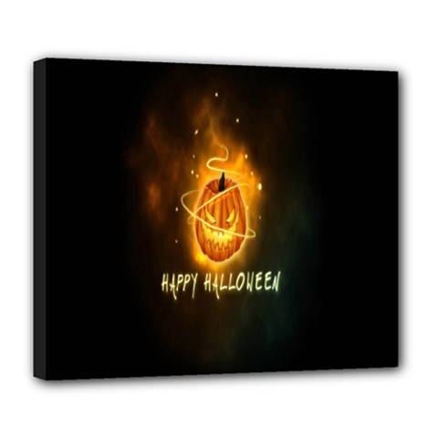 Happy Halloween Pumpkins Face Smile Face Ghost Night Deluxe Canvas 24  X 20   by Alisyart