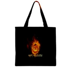 Happy Halloween Pumpkins Face Smile Face Ghost Night Zipper Grocery Tote Bag by Alisyart