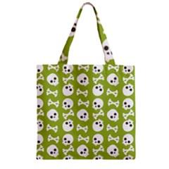 Skull Bone Mask Face White Green Zipper Grocery Tote Bag by Alisyart