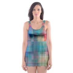 Rainbow Prism Plaid  Skater Dress Swimsuit by KirstenStar