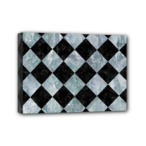 Square2 Black Marble & Ice Crystals Mini Canvas 7  X 5  by trendistuff
