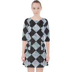 Square2 Black Marble & Ice Crystals Pocket Dress by trendistuff