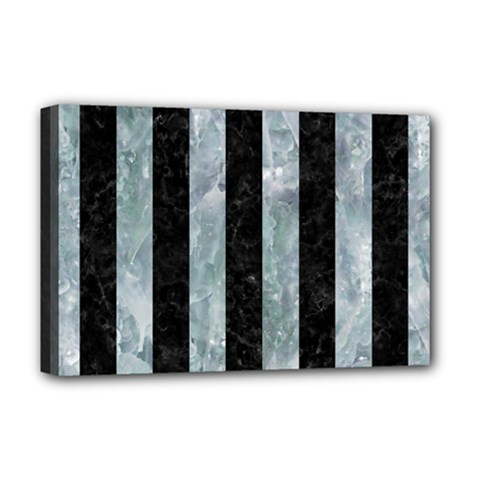 Stripes1 Black Marble & Ice Crystals Deluxe Canvas 18  X 12   by trendistuff