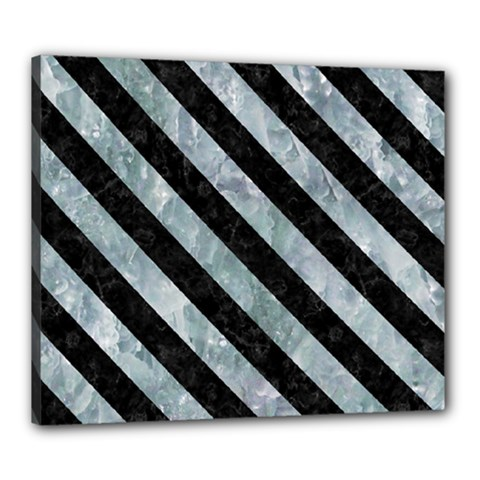 Stripes3 Black Marble & Ice Crystals Canvas 24  X 20  by trendistuff