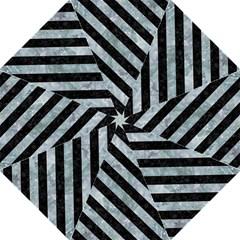 Stripes3 Black Marble & Ice Crystals Folding Umbrellas by trendistuff
