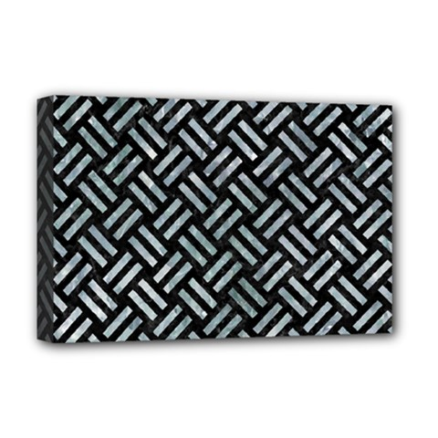 Woven2 Black Marble & Ice Crystals (r) Deluxe Canvas 18  X 12   by trendistuff