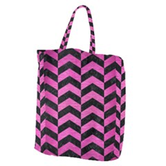 Chevron2 Black Marble & Pink Brushed Metal Giant Grocery Zipper Tote by trendistuff