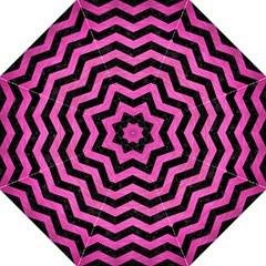 Chevron3 Black Marble & Pink Brushed Metal Hook Handle Umbrellas (large) by trendistuff