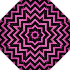 Chevron9 Black Marble & Pink Brushed Metal (r) Straight Umbrellas by trendistuff